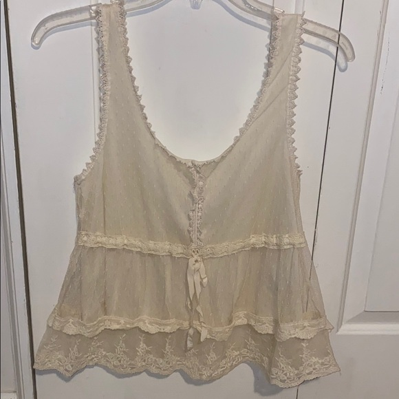 Forever 21 Tops - cream lace tank top